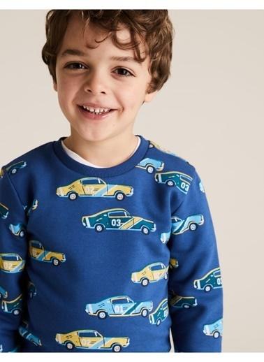 Marks & Spencer Organic Pamuklu Araba Desenli Sweatshirt Mavi
